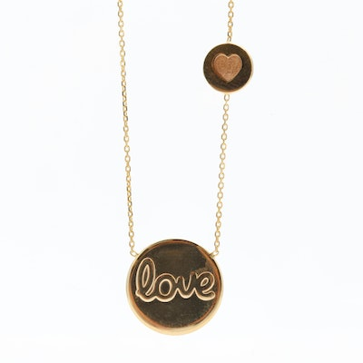 """14K Yellow Gold Necklace with """"Love"""" and Heart Station Pendants"""