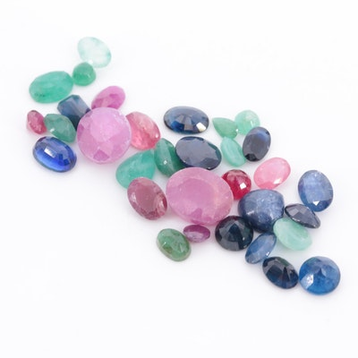 Loose 30.00 CTW Gemstones Including Ruby, Sapphire and Emerald