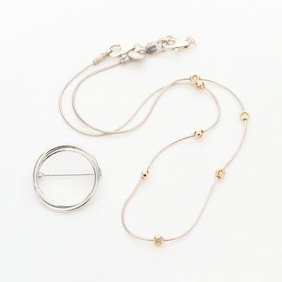 Sterling Silver and 10K Yellow Gold Station Necklace with Ring Brooch