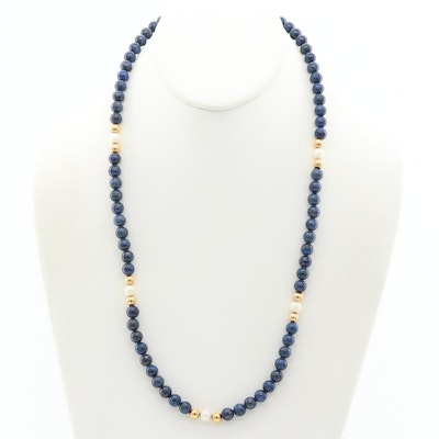 14K Yellow Gold Lapis Lazuli Beaded Necklace with Cultured Pearls