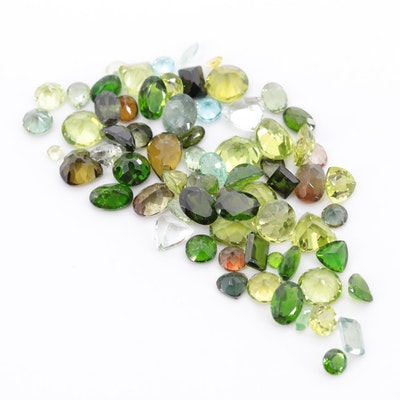 Loose 45.82 CTW Gemstone Assortment Including Peridot, Diopside and Prasiolite