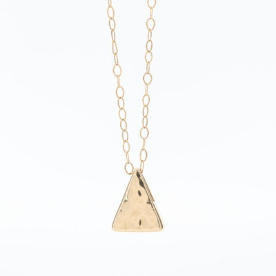 14K Yellow Gold Triangular Pendant Necklace