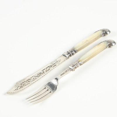English Sterling and Mother-of-Pearl Fish Knife and Fork, 1896