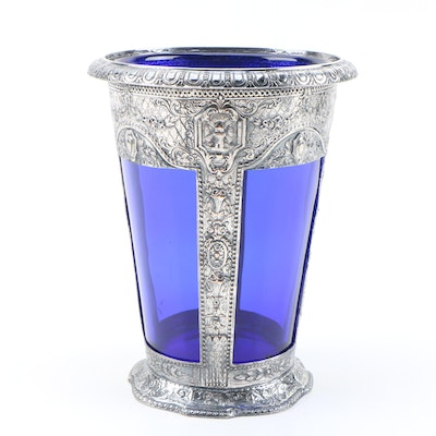 E. G. Webster & Son Silver Plate and Cobalt Blue Glass Vase