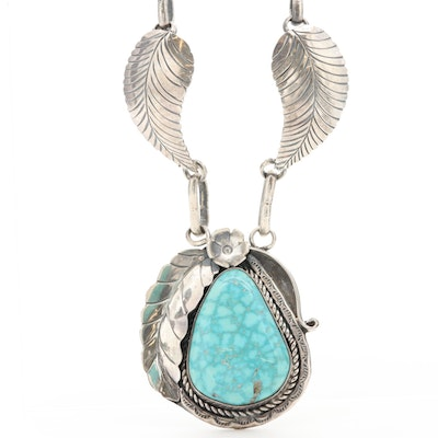 Southwestern Style Sterling Silver Turquoise Necklace