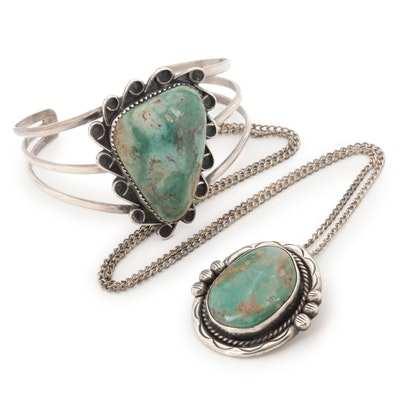 Southwestern Style Sterling Silver Turquoise Pendant and Bracelet