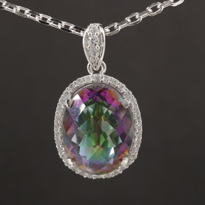 Sterling Silver Quartz and Topaz Necklace