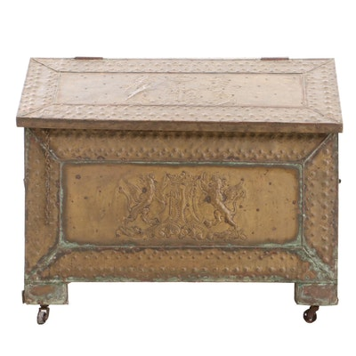 British Repousse Brass Hearth Box, Early 20th Century