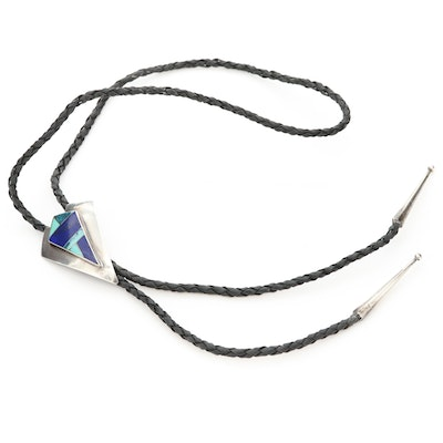 Southwestern Style Sterling Silver Turquoise and Lapis Lazuli Inlaid Bolo Tie
