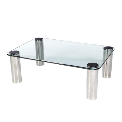 Leon Rosen for Pace Modern Glass and Chrome Coffee Table