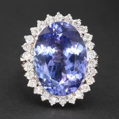 14K White Gold 13.39 CT Tanzanite and Diamond Ring