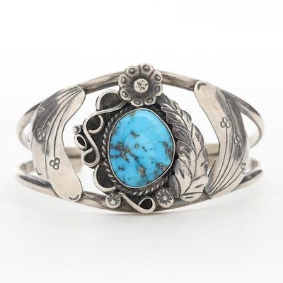 Raymond Platero Navajo Diné Sterling Silver Turquoise Cuff Bracelet