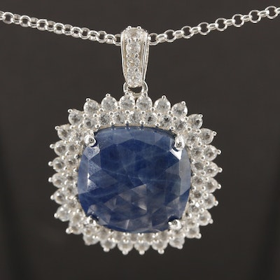 Sterling Silver Sapphire and Topaz Pendant Necklace