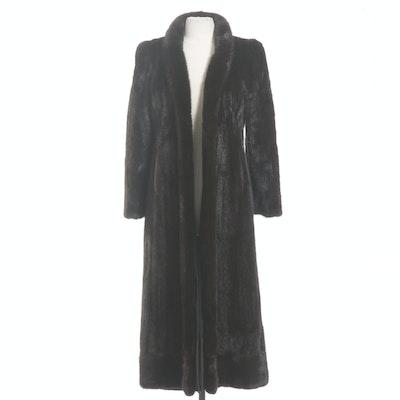 Dark Mahogany Mink Fur Ankle-Length Coat from Roberts of San Francisco