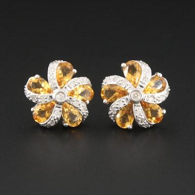 18K White Gold Citrine and Diamond Earrings