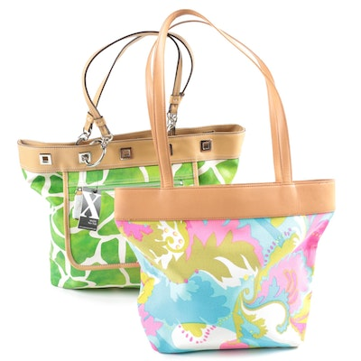 Maxx New York Reversible Giraffe Print PVC and Colorful Paisley Canvas Totes