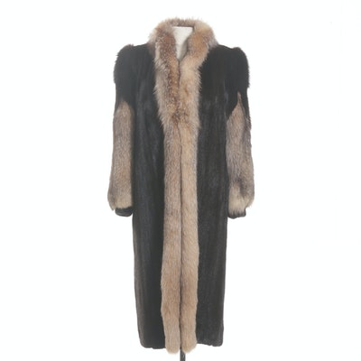 Dark Mahogany Mink and Fox Fur Coat