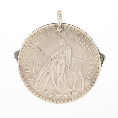 """1920s Hickok Sterling Silver """"A Toi Une Vie Florissante"""" Cigar Cutter Watch Fob"""