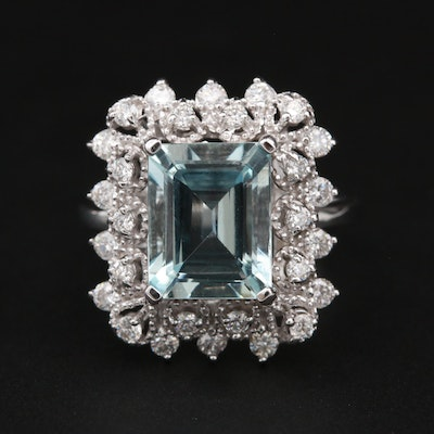14K White Gold 3.03 CT Aquamarine and Diamond Ring