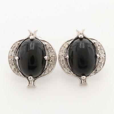 Sterling Silver Black Onyx and Diamond Earrings
