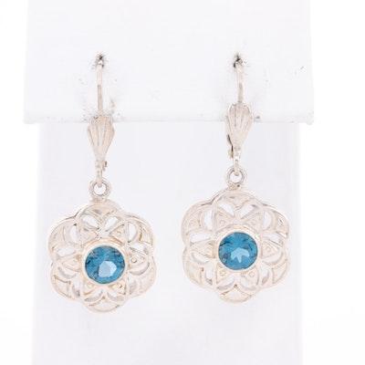 Sterling Silver Blue Topaz Drop Earrings