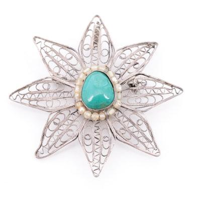 Sterling Silver Turquoise Filigree Flower Brooch