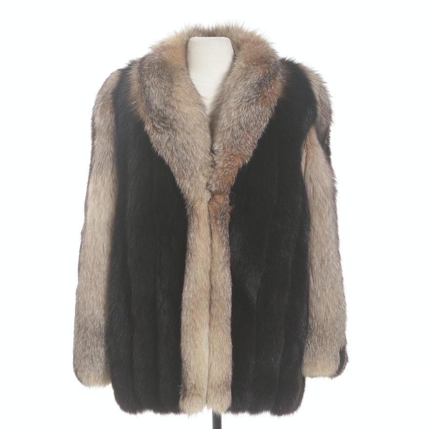 Full-Pelt Black and Crystal Fox Fur Jacket with Greek Key Patterned Sleeves