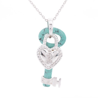 Sterling Silver Diamond and Turquoise Key Pendant Necklace