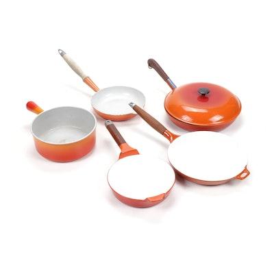 Vintage Orange Enamelled Cast Iron Cookware