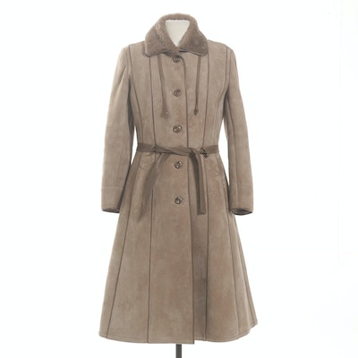 Shearling-Lined Suede Trench Coat, Made in England