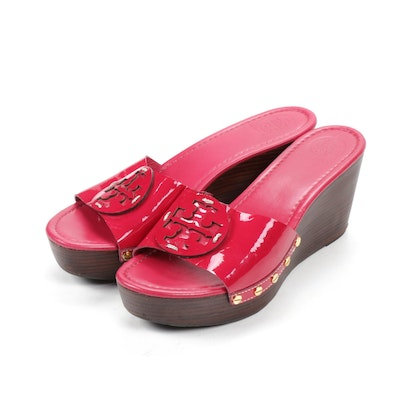 Tory Burch Magenta Patent Leather Wedge Sandals