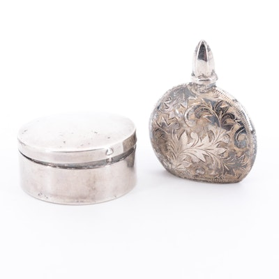Vintage 950 Silver and Sterling Silver Perfume Bottle and Keepsake Box