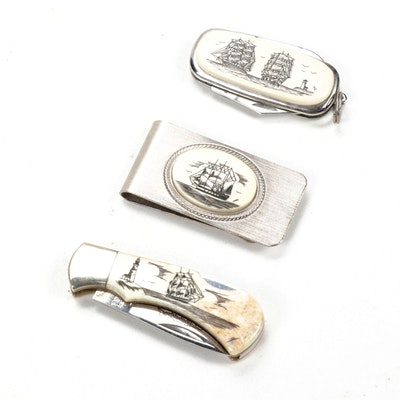Etched Scrimshaw Money Clip and Folding Knives