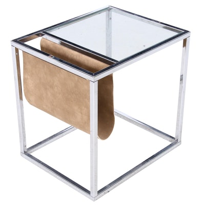Chrome Framed End Table with Canvas Magazine Sleeve, Circa 1980