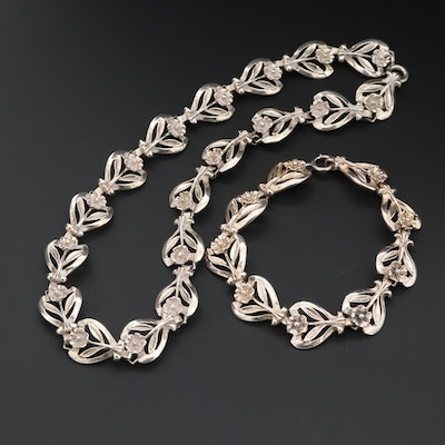 1960s Alice Caviness Sterling Silver Flower Necklace and Bracelet
