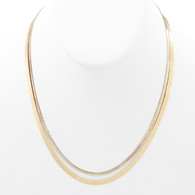 Italian Gold Wash on Sterling Silver Herringbone Necklaces with Danecraft