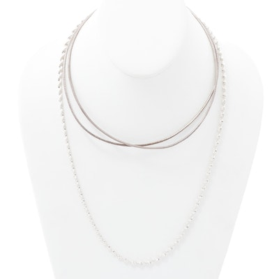 Italian Sterling Silver Snake and Herringbone Twist Chain Necklaces