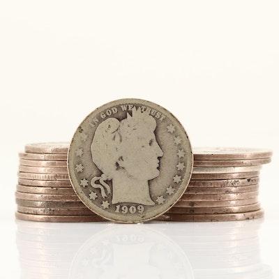 Twenty-Two Silver Barber Quarters