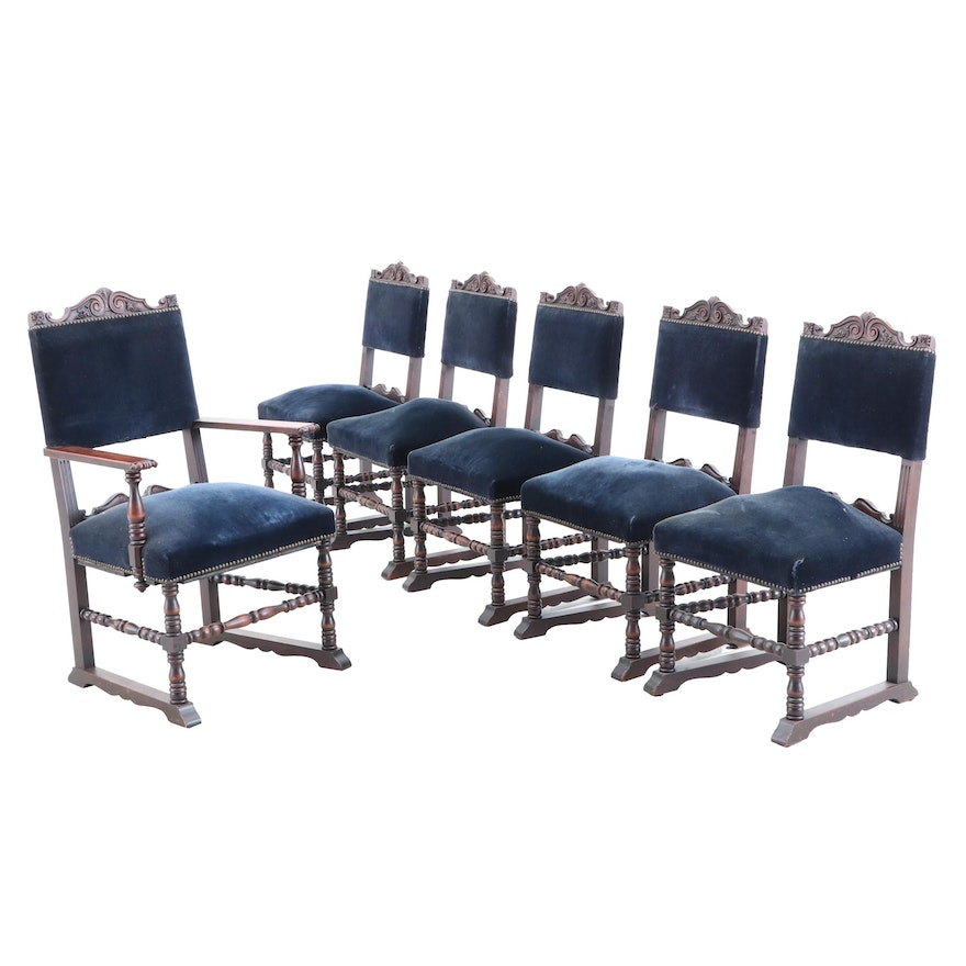 Blue Mohair Upholstered Dining Chairs, Set of Six
