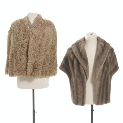 Vintage Goat Fur Cape and Faux Fur Stole
