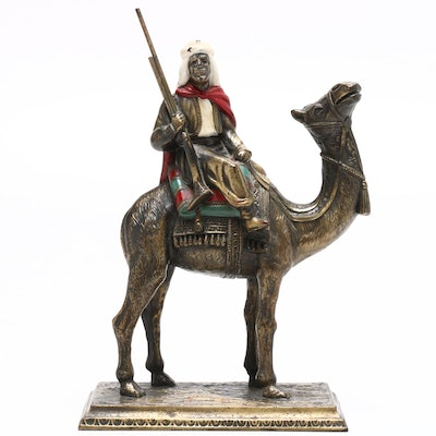 Middle Eastern Style Man on Camelback Spelter Sculpture