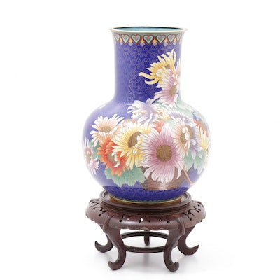 Chinese Cloisonné Brass Vase with Wood Stand