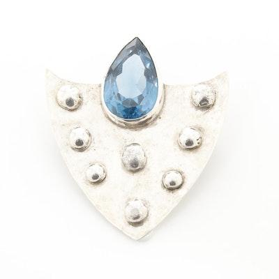 Sterling Silver Blue Topaz Brooch