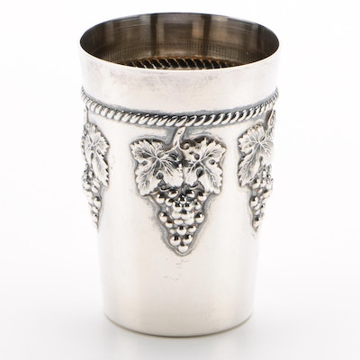Eastern Sterling Co. Sterling Silver Cup with Applied Grapes, Mid-Century