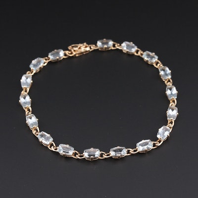 14K Yellow Gold Aquamarine Bracelet