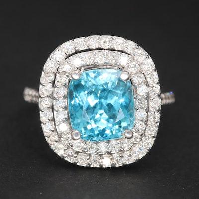 18K White Gold Blue 5.36 CT Zircon and Diamond Ring