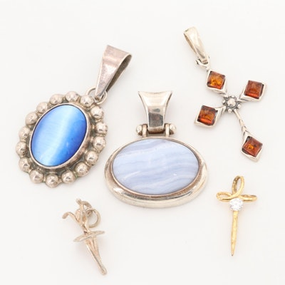 Sterling Silver Agate, Amber, and Cat's Eye Glass Pendants
