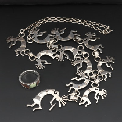 Southwestern Sterling Silver Landscape Motif Ring and Kokopelli Link Necklace