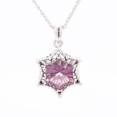 Sterling Silver Quartz Star Pendant Necklace