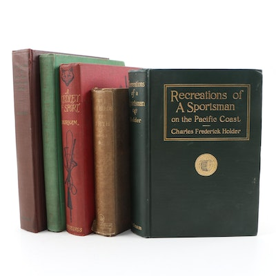 """Hunting Books including """"Recreations of a Sportsman"""" by Charles F. Holder, 1910"""